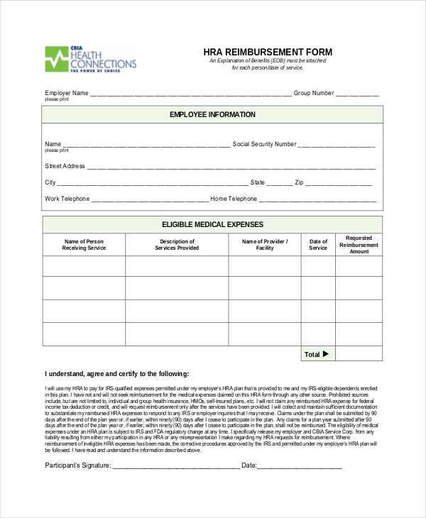 Sample Reimbursement Form   Free Documents In Pdf Doc