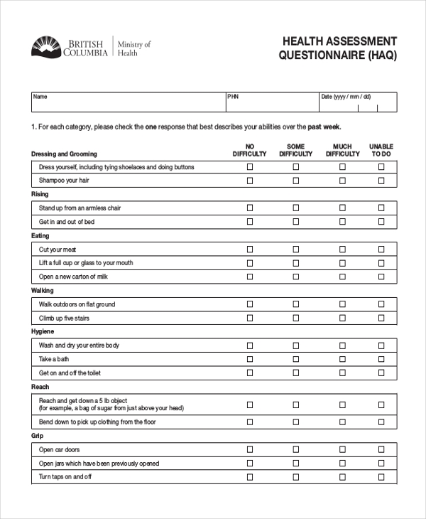 Sample health questionnaire form 10 free documents in for Health assessment questionnaire template