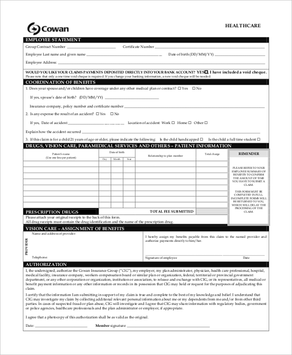 health care insurance form