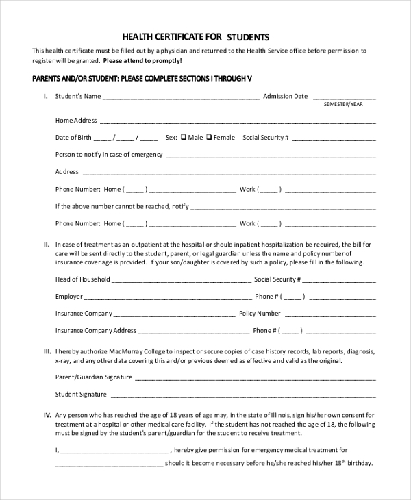 Sample Health Certificate Form   Free Documents In Pdf