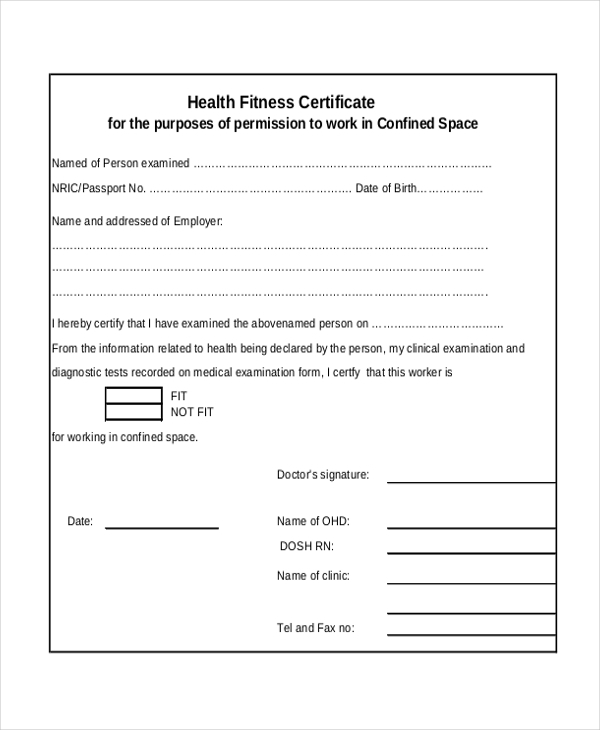free 8  sample health certificate forms