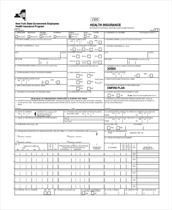 health insurance billing form