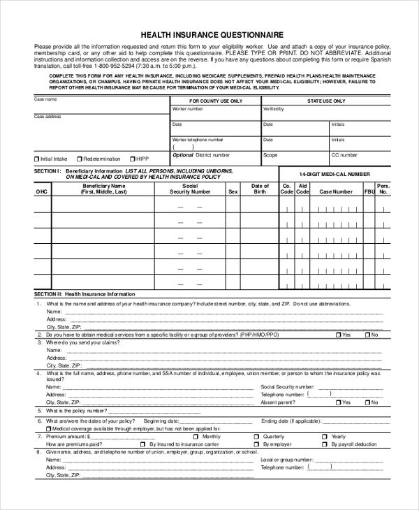 health insurance questionnaire form