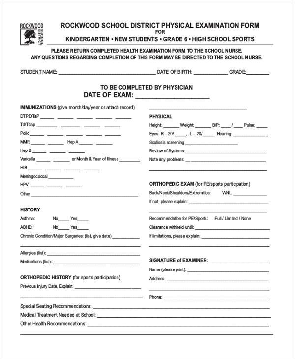 Sample Health Examination Form   Free Documents In Pdf