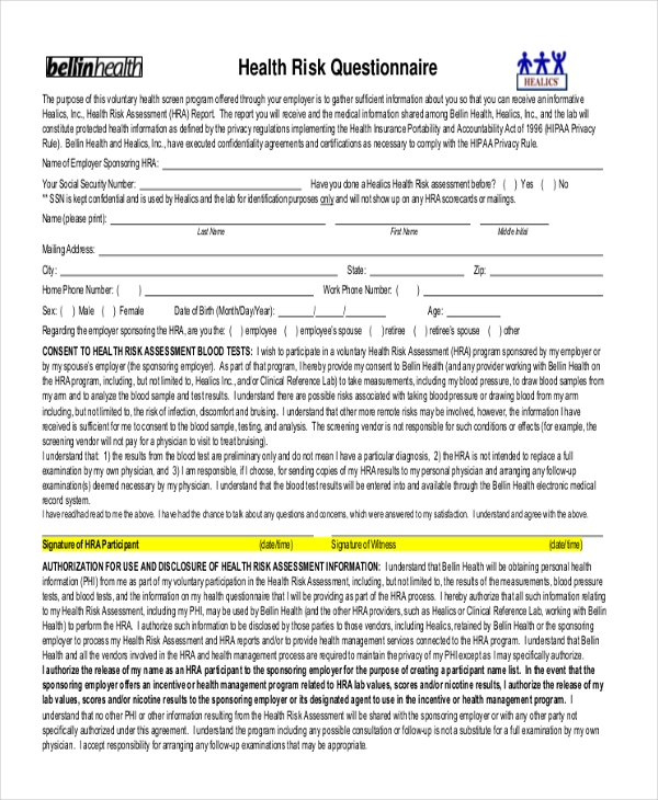 Medical questionnaire form ibovnathandedecker sample health questionnaire kays makehauk co maxwellsz