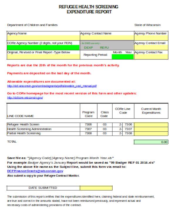 health screening report form