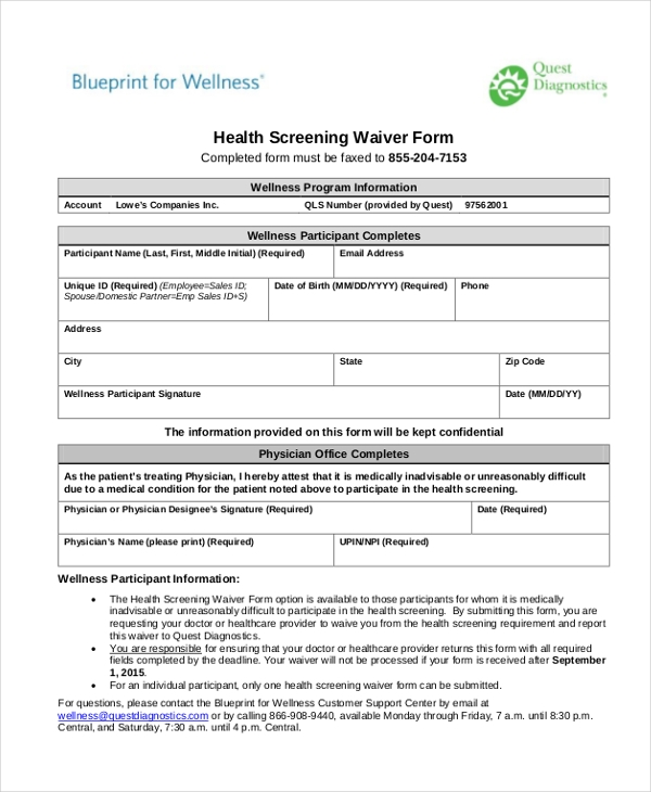 Sample Health Screening Form   Free Documents In Word Pdf