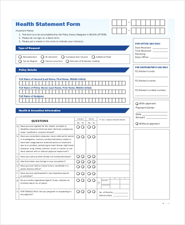 health statement form