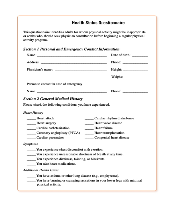 Health Questionnaire Form Bing Images