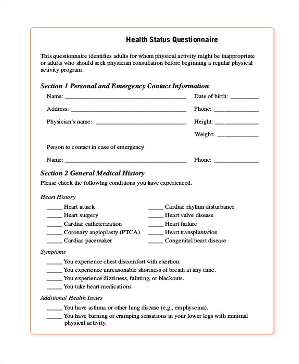 health status questionnaire form