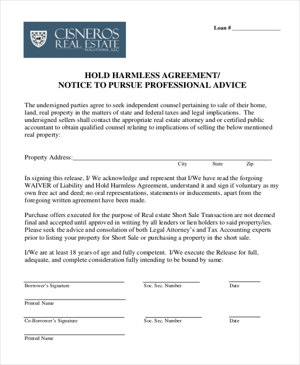 Free 12 Sample Hold Harmless Agreement Forms In Pdf Word