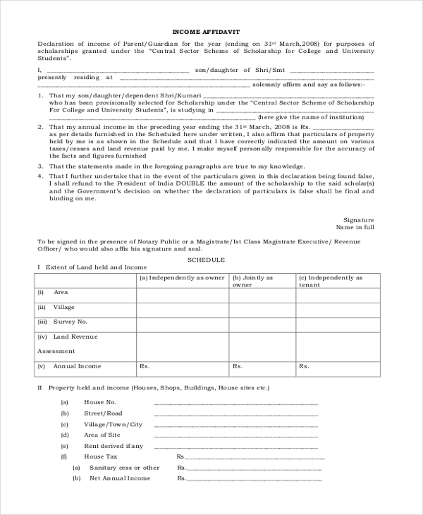 income affidavit form