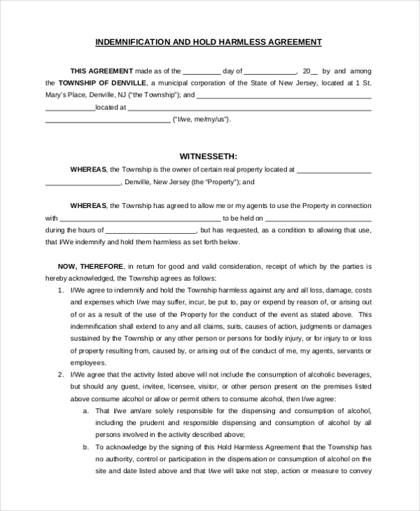 Sample Hold Harmless Agreement Form   Free Documents In Word Pdf