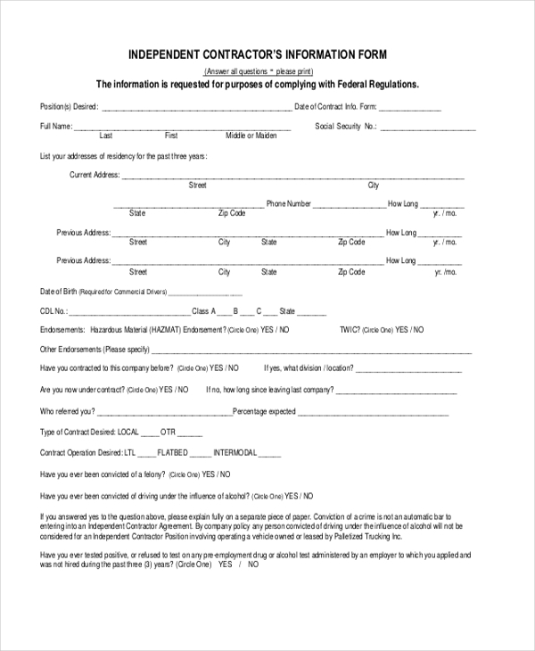 Sample Independent Contractor Forms - 8+ Free Documents in Word, PDF