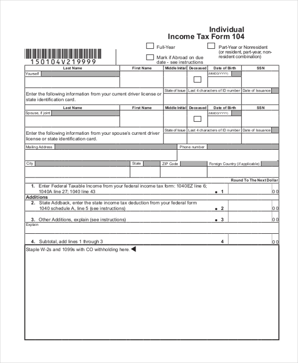 Sample Tax Form   Free Documents In Pdf