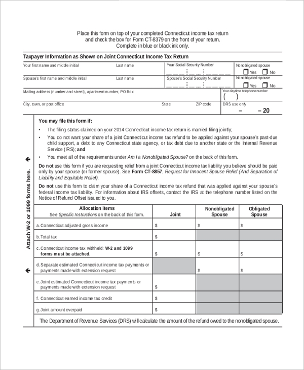 Injured Spouse Form 2016 - More Information - Tagbook
