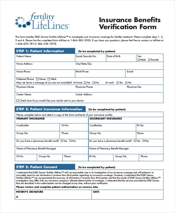 insurance benefit verification form
