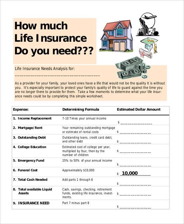 insurance need assessment form