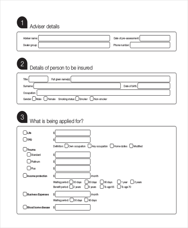 insurance pre assessment form