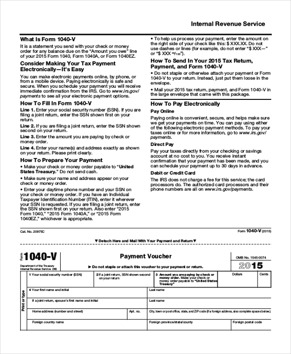 internal revenue service tax form