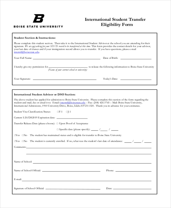 international student transfer form