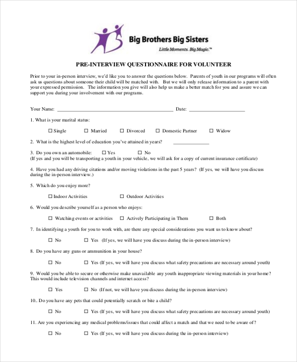 interview questionnaire form
