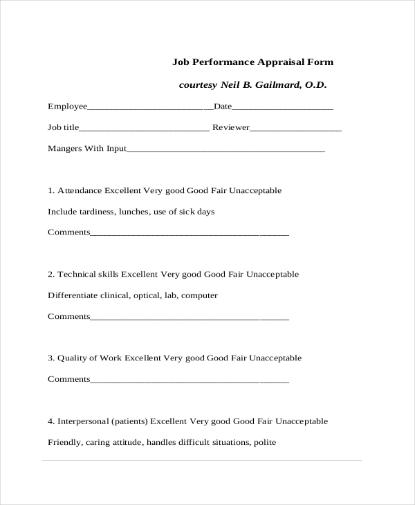 job appraisal form