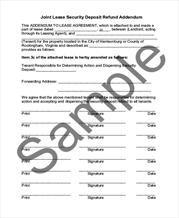 joint lease security deposit refund form