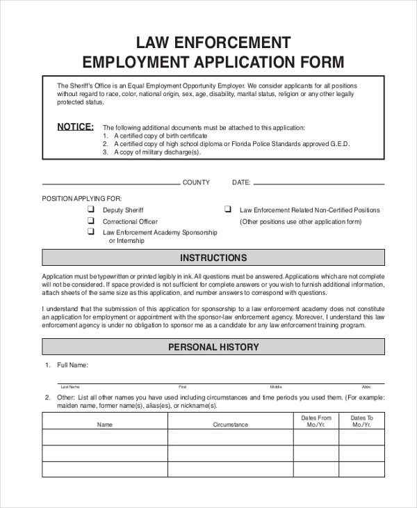 law enforcement employment application form