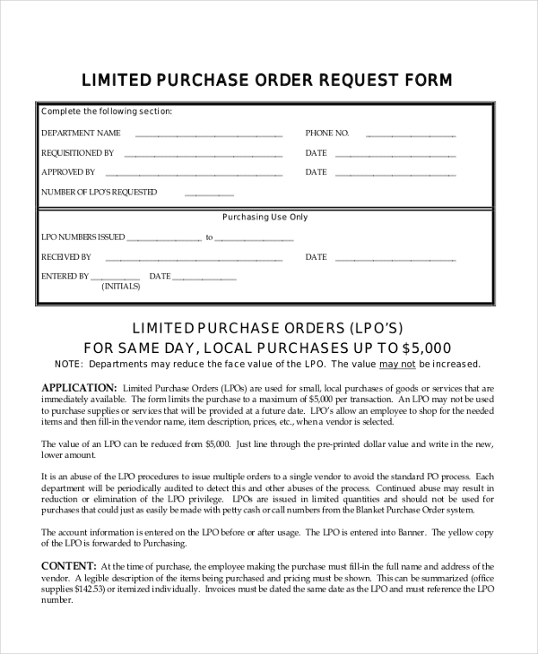 Sample Purchase Order Request Form 12 Free Documents in PDF – Sample Local Purchase Order