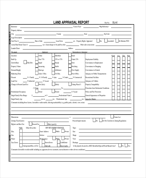 land appraisal form