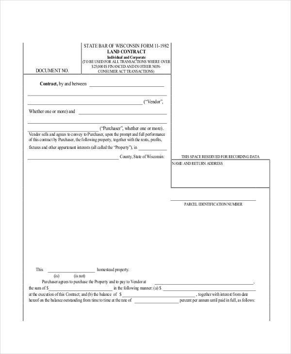 Sample Land Contract Form   Free Documents In Pdf Doc