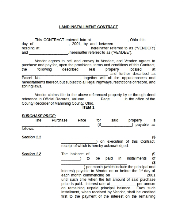 land installment contract form