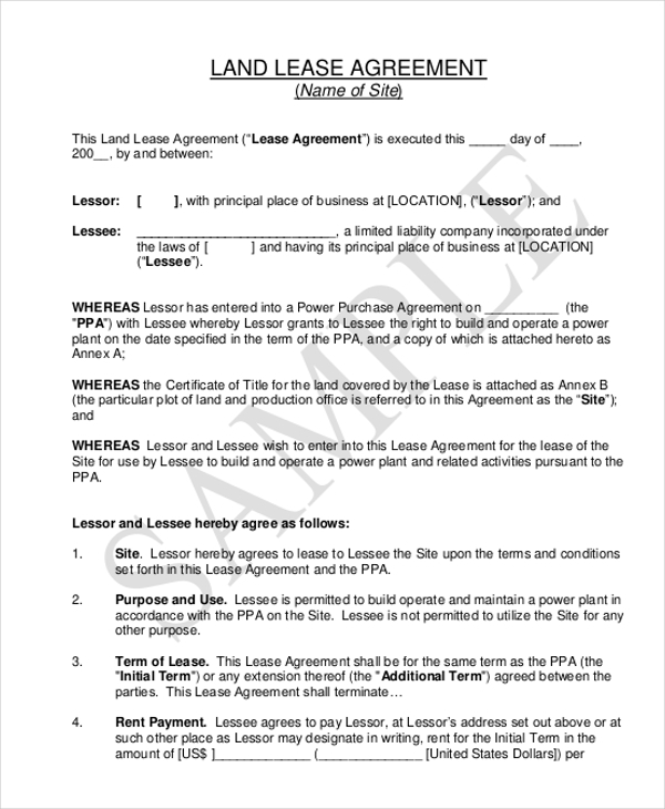 land lease agreement