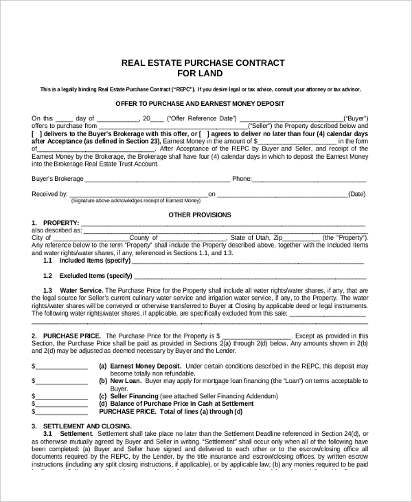 sample land contract form 8 free documents in pdf doc