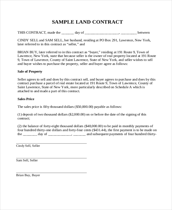 Sample Land Contract Form 8 Free Documents in PDF Doc – Sales Contract Sample