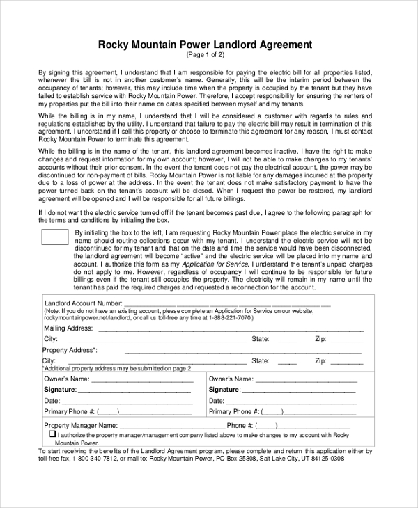 landlord interim billing agreement form