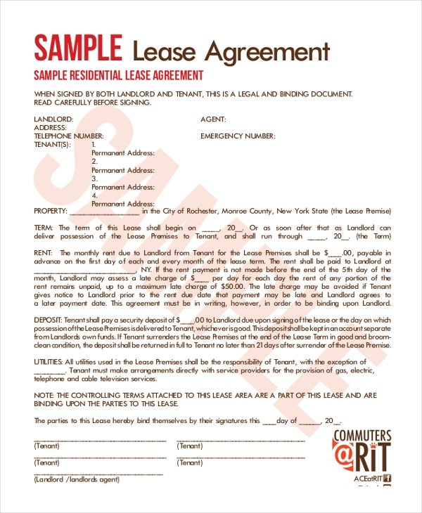 Sample Lease Agreement Forms  Sample Example Format