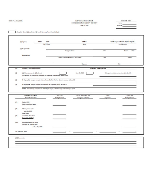liability form sample