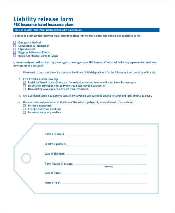 Insurance Release Form Doc Liability Waiver Release Of Liability