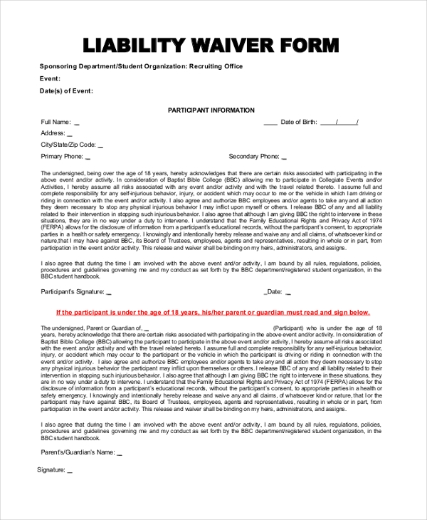Doc400518 Sample Liability Release Form Release of Liability – Example of Liability Waiver