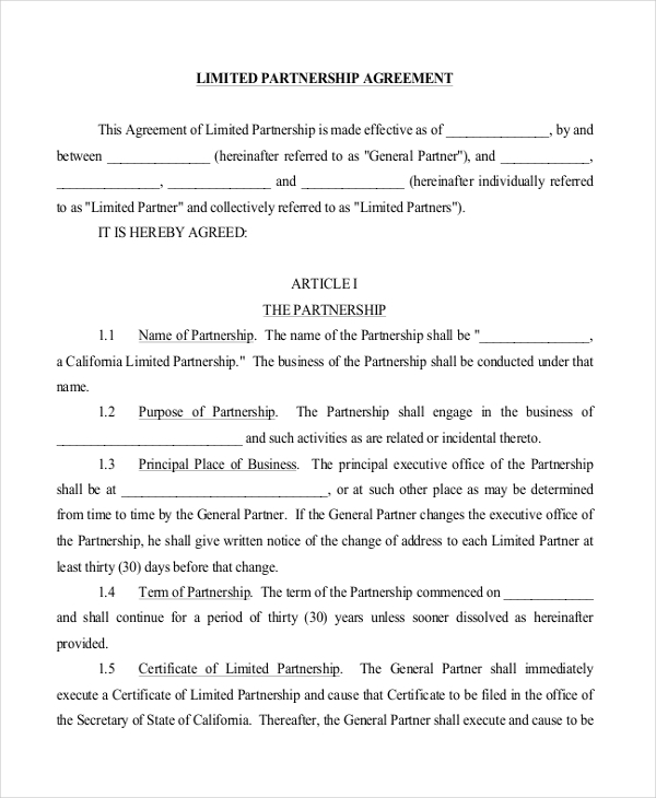 Free Limited Partnership Agreement Form
