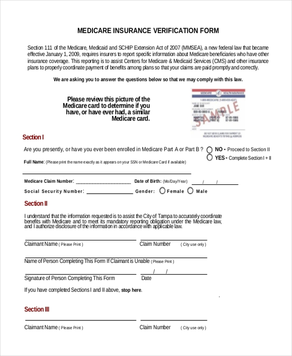 medicare insurance verification form