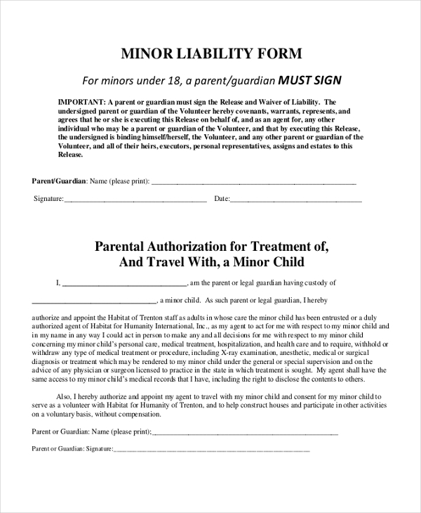 minor liability form