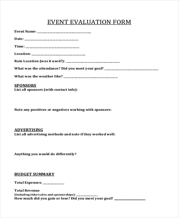 marketing event evaluation form