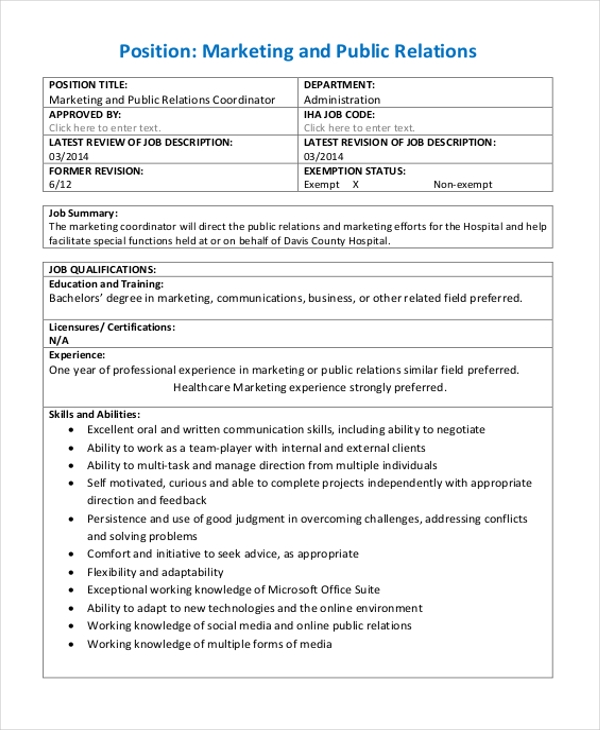 Sample Marketing Evaluation Form   Free Documents In Pdf