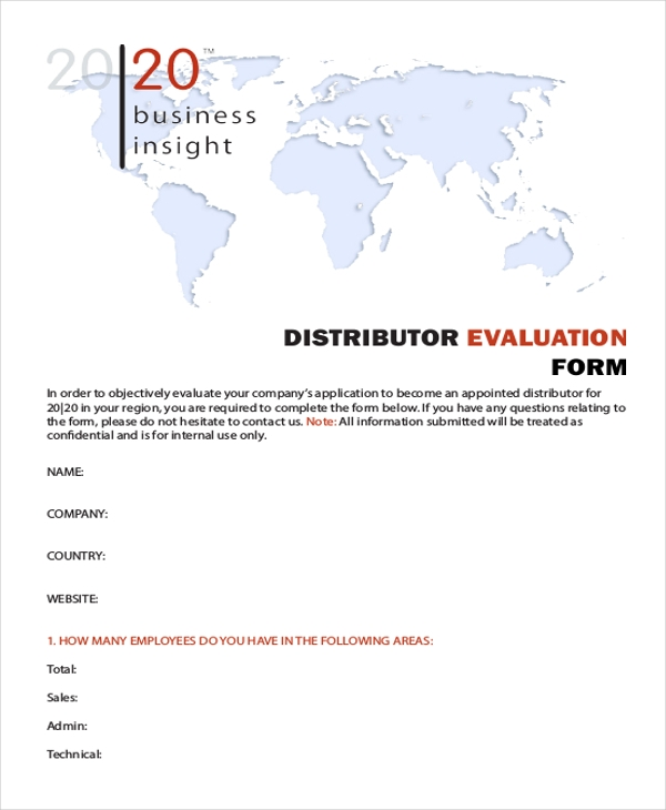 marketing distributor evaluation form