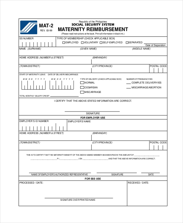 maternity reimbursement form