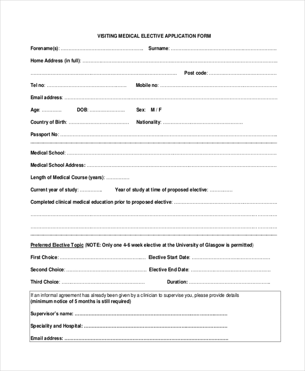 medical application form