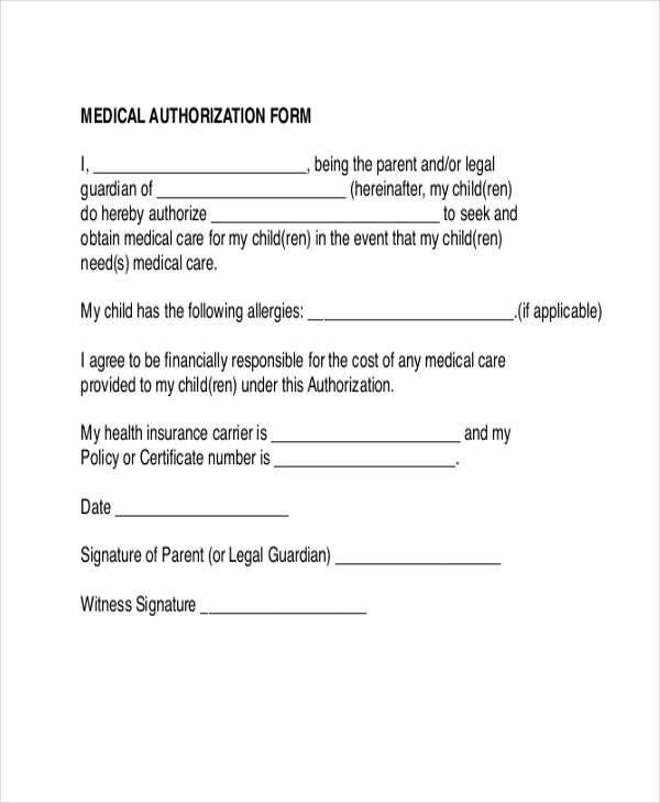 Medical Authorization Form  Free Medical Certificate